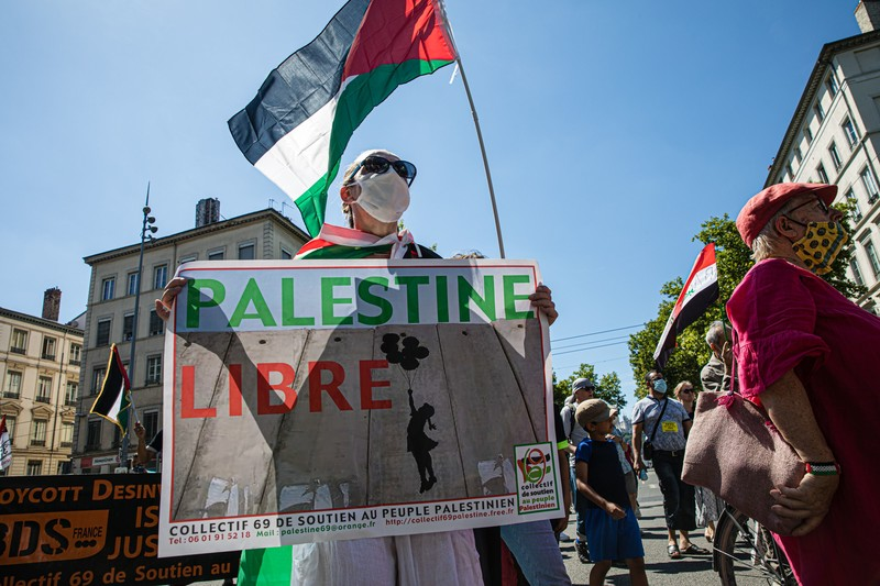 A protester holds a Palestine flag and a banner that reads Palestine Libre