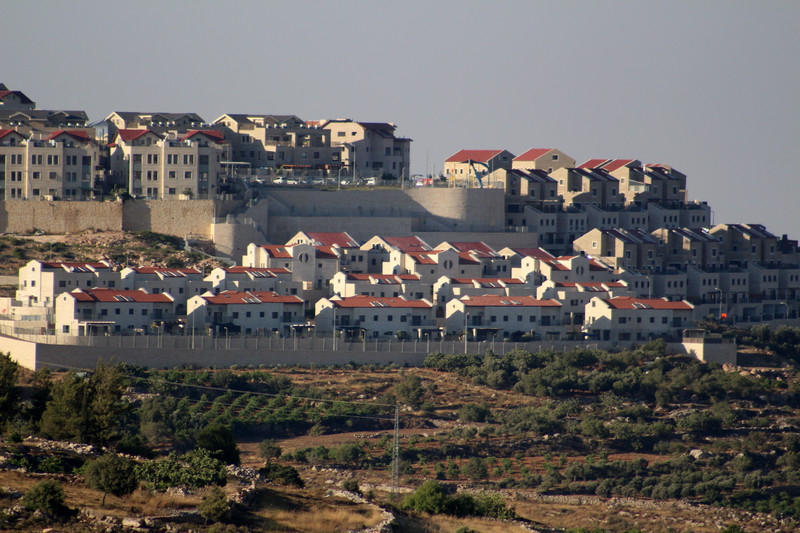 A view of a settlement bloc of colonial houses
