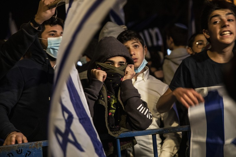 Young men with Israeli flags