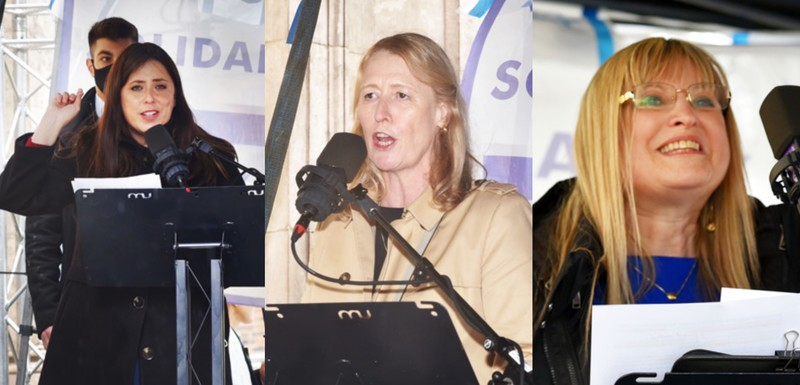 Collage of three women speaking into a microphone