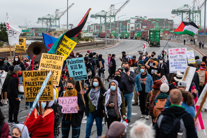 Protesters hold signs in front of cargo ships