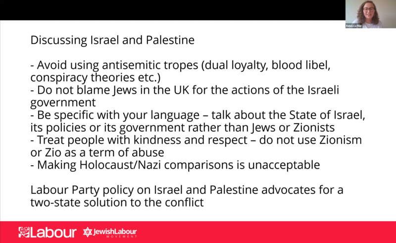 """Zoom session slide """"discussing Israel and Palestine"""""""
