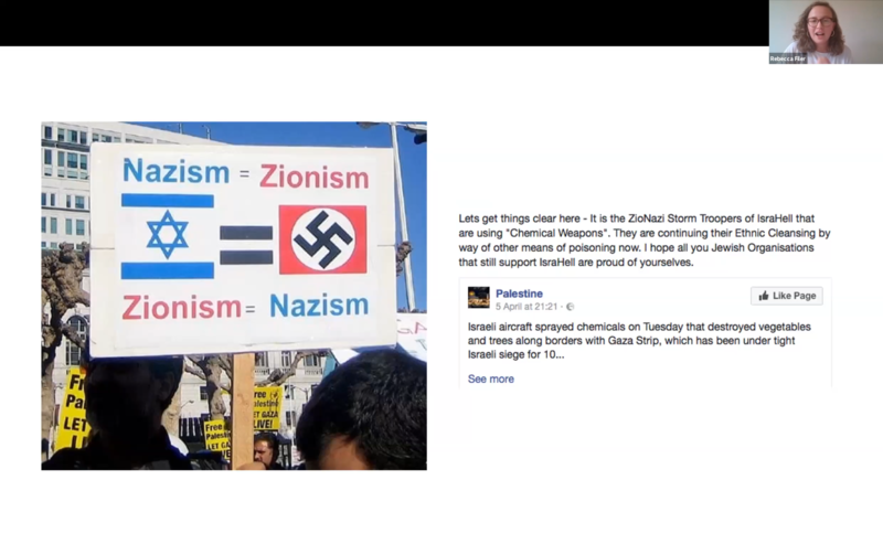 Zoom session slide about comparing Zionism to Nazism