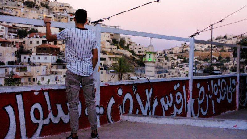 A man looks over a rooftop painted with a mural