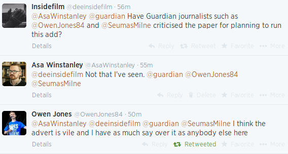 """Twitter thread from 2014 shows Owen Jones calling a Guardian ad """"vile"""""""