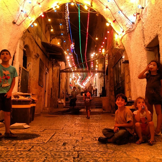 Happy kids on my way home of 7ara sa3diya in the old city - the little small things that make you small and be thankful #jerusalem #ramadan #palestine on Instagram
