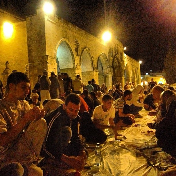 S7oor at #aqsa: labne, bread, tomato, cucumber and a bar of halawa #ramadan #jerusalem #palestine on Instagram