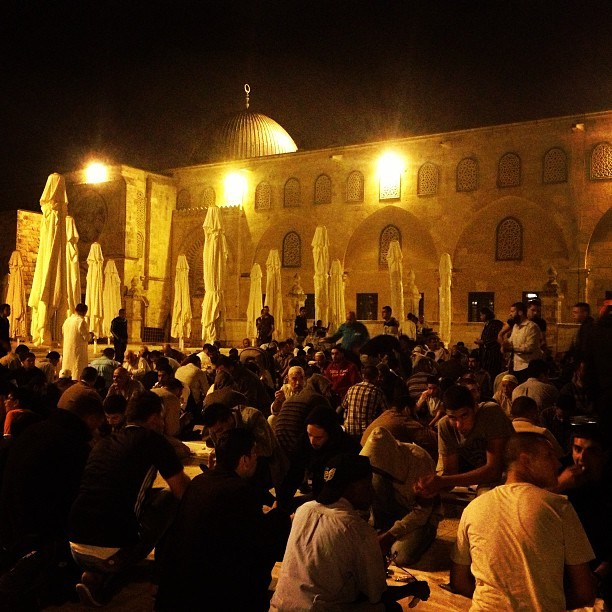 Eating sohor meal at #aqsa #ramadan #jerusalem #palestine on Instagram
