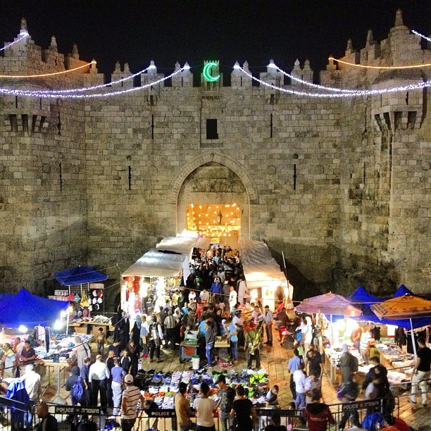Bab el amood is one big party tonight #ramadan #aqsa #jerusalem #palestine on Instagram
