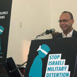 Representative Luis Gutierrez speaking at a rallyurging fellow members of Congress to join him in backing a bill supporting Palestinian children's rights.