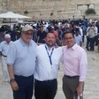 Rabbi Ben Packer (center)with Mark Levin (left) and Paul Teller (right)at the Western Wall plaza in occupied East Jerusalem.