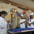 Palestinian schoolchildren making crafts.