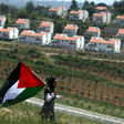 A Palestinian girl holds a Palestinian flag in front of a row of settlement houses.