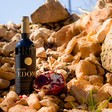 A wine bottle and a pomegranate are perched on some rocks