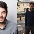 A collage of two photos of man with beard
