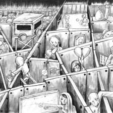 Mohammed Sabaaneh cartoon on Israel's wall compartmentalizing Palestinian life