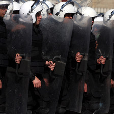 Palestinians anti-riot police deploy in Ramallah against Palestinian protesters.