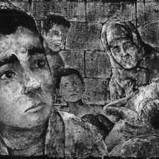 Scratchboard animation shows boy in foreground with children and older woman behind him