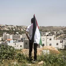 Boy holding Palestine flag looks at Israeli settlement homes