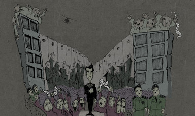 Editorial illustration shows Arab Idol winner in front of fans, police, towers and Israeli wall and helicopters