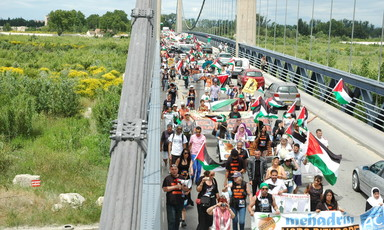 More than 350 people marched from Avignon to the French headquarters of Mehadrin, an Israeli agricultural export company that plays a leading role in the colonisation of Palestinian land