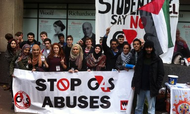 Student campaigners at King's College London hold a demonstration calling on the university not to award a lucrative security contract to G4S