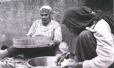 Palestinian village women working
