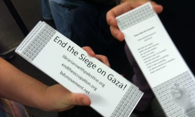 Bookmarks by information workers in New York, calling attention to Israeli abuses in Gaza