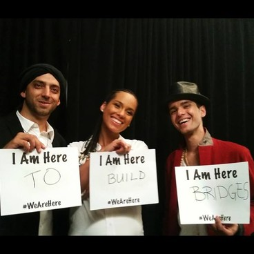 Alicia Keys (center) posing with Idan Raichel (left) and Ali Paris aka Ali Amr (right)  PHOTO: Alicia Keys on Facebook