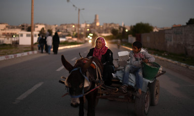 Woman and boy ride on cart pulled by donkey through a street as the sun sets
