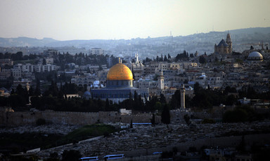 Landscape view of Jerusalem with golden Dome of Rock in center