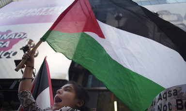 Adolescent girl holding Palestine flag chants during a protest