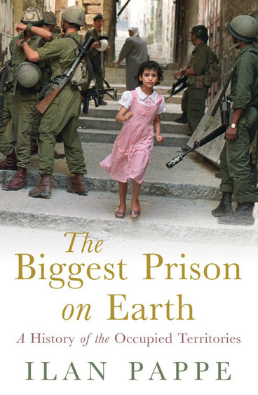 Cover of The Biggest Prison on Earth illustrated with photo of young girl wearing pink dress standing between heavily armed soldiers