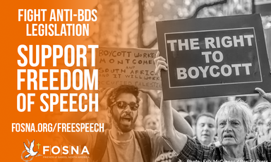 "A poster created by Friends of Sabeel North America that reads: ""Fight anti-BDS legislation, support freedom of speech."""