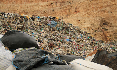 Piles of Israel trash in a dump site in Qusin village, west of Nablus in the West Bank, 4 February 2014.