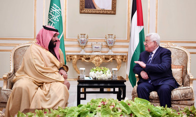 Mohammad bin Salman and Mahmoud Abbas converse during meeting