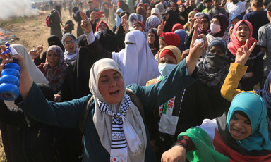 Palestinian women protesting in Gaza.