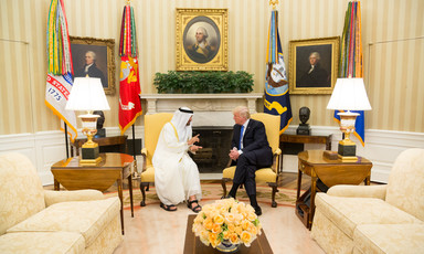 President Donald Trump meets with Mohamed bin Zayed Al Nahyan in the Oval Office.