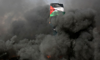 Flag of Palestine is seen held up by a protester clouded by thick smoke