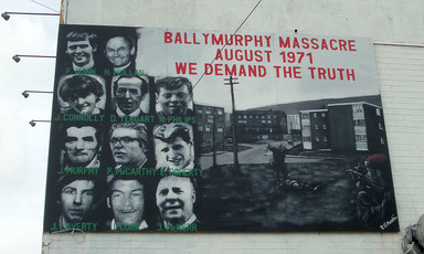Mural showing images of people killed by British Army in Belfast during the early 1970s.