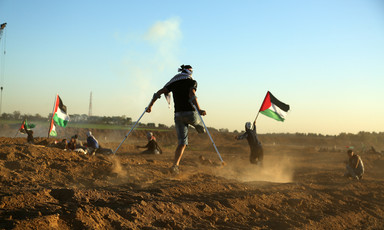 A youth with an amputated leg uses crutches to walk amid protesters holding Palestine flags