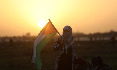 Young woman wearing kuffiyeh around her face holds Palestine flag as sun sets
