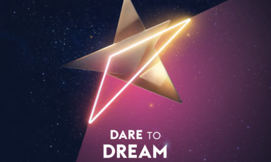 "A logo with the words ""Dare to Dream"" and ""Eurovision"""