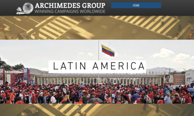 Screenshot from website of large rally beneath Venezuelan flag