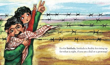 Illustration of children near a barbed wire fence