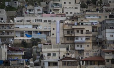 Landscape view of apartment buildings on hillside