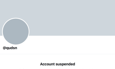 Screenshot from Twitter shows page of closed account