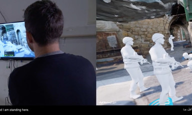 Screenshot of split screen showing men looking at monitor and a virtual reality rendering of soldiers in an alley