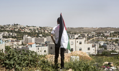 Boy holding Palestine flag looks at Israeli settlement homes