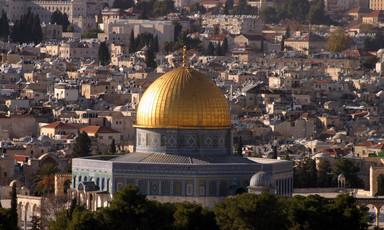 A golden dome dominates the Jerusalem skyline